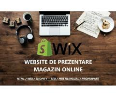 Realizare website profesional in WIX/HTML/Shopify + Web interface